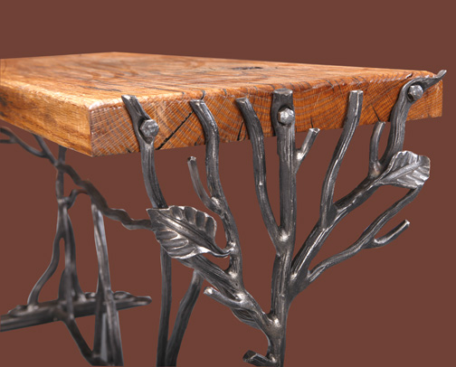 custom-wrought-iron-oak-bench-closer