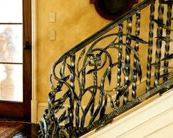 Tuscan Style Beach Villa Interior Staircase Railing and Newel