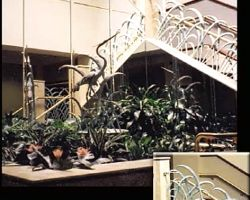 Hargray Telephone Corporate Office Main Lobby Marsh grass railings and Heron Fountain